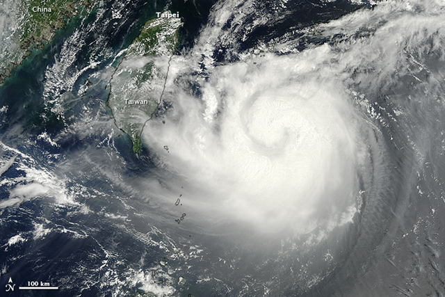 The Moderate Resolution Imaging Spectroradiometer (MODIS) on NASA's Terra satellite captured this natural-color image on 22 August 2012. Tembin followed four other typhoons making landfall in southern China in the previous few weeks: Saola, Damrey, Haikui, and Kai-tak. NASA image courtesy Jeff Schmaltz, LANCE MODIS Rapid Response Team at NASA GSFC