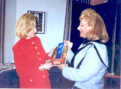 Loula presenting a guide of Greece to Hillary.jpg