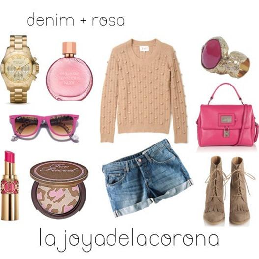 con denim y rosa