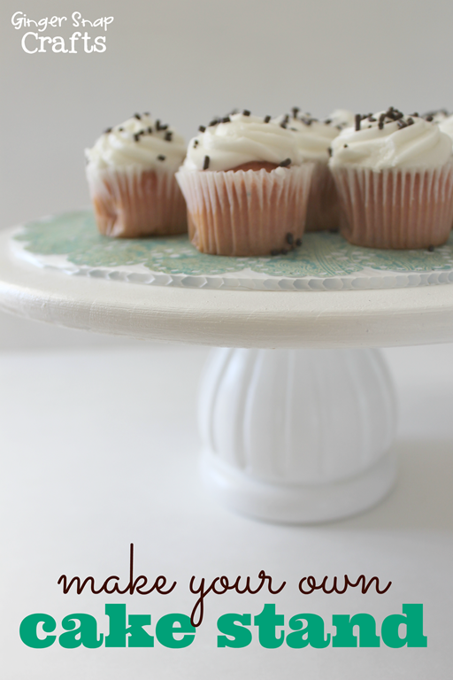make your own cake stand with #DecoArt at GingerSnapCrafts.com #spon