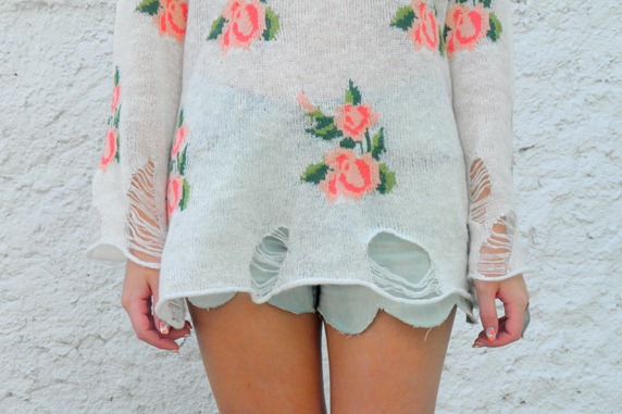 ROMWE FLORAL LADDERED JUMPER