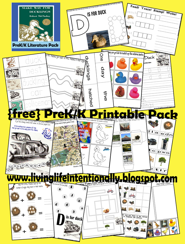 Worksheets for kids - Make Way for Duckling pireK-2nd grade