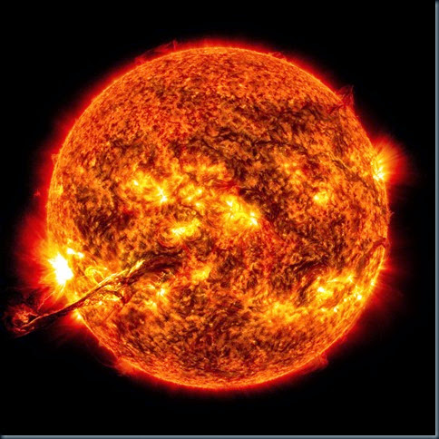 On August 31, 2012 a long filament of solar material that had been hovering in the sun's atmosphere, the corona, erupted out into space at 4:36 p.m. EDT. The coronal mass ejection, or CME, traveled at over 900 miles per second. The CME did not travel directly toward Earth, but did connect with Earth's magnetic environment, or magnetosphere, with a glancing blow. causing aurora to appear on the night of Monday, September 3.<br />
