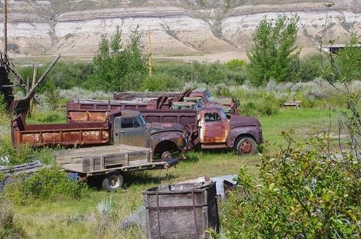 Rusting trucks at Atlas Coal Mine