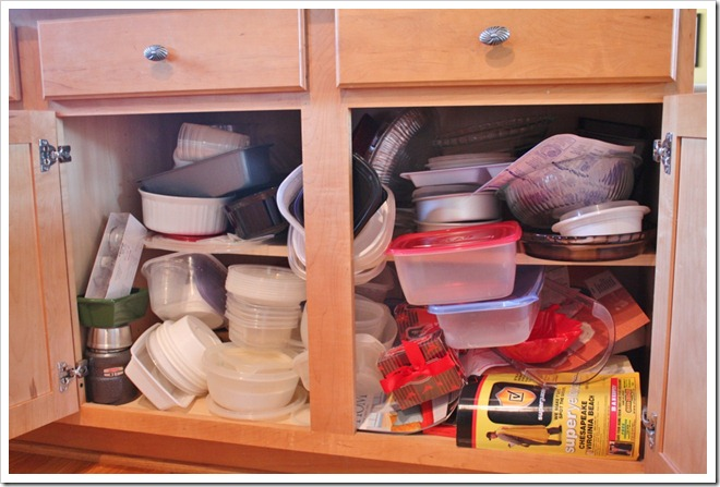 Kitchen Cabinet Organization {Taming the Tupperware} - Sand and Sisal