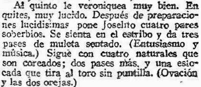 1917-03-19 (p. 20 ABC) reseña 5º toro Joselito