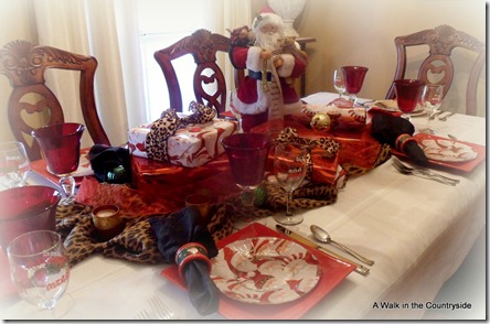 a walk in the countryside: Santa and leopard print table