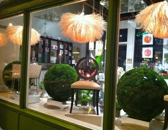 window display Moss Balls in Window floral art
