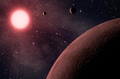 ilustração de três exoplanetas e sua estrela