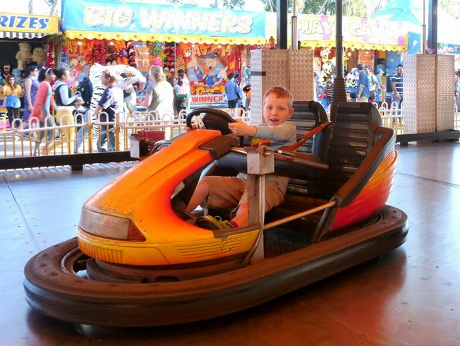 driving the dodgem car on his own