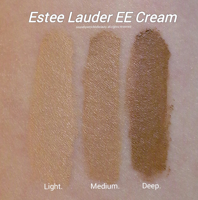 Estee Lauder EE Creme Even Enlighten Swatches of Shades Light, Medium, Deep