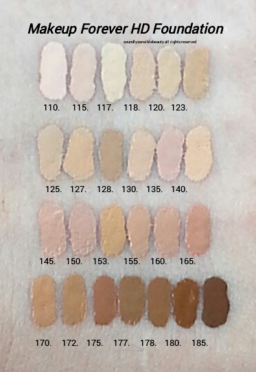 Makeup Forever (MUFE) High Definition Foundation; Invisible Coverage, Full Cover, HD Foundation. Review & Swatches of Shades 107 Pink*, 110 Pink Porcelain, 115 Ivory, 117 Marble,  118 Flesh, 120 Soft Sand, 123 Desert,  125 Sand, 127 Dark Sand, 128 Almond,  130 Warm Ivory, 135 Vanilla, 140 Soft Beige, 145 Neutral, 150 Pink Beige, 153 Golden Honey,  155 Medium Beige, 160 Golden Beige, 165 Honey Beige, 170 Caramel, 173 Amber, 175 Coffee, 177 Cognac,  178 Chestnut, 180 Brown, 185 Ebony