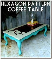 French Provincial Coffee Table Grey Hexagon Teal Base-2