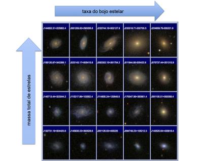 diagrama da massa total de estrelas em relação à taxa do bojo estelar