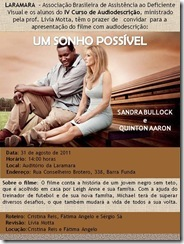 UM SONHO POSSÍVEL: o convite com fundo palha é ilustrado pela foto colorida de Michael e Leigh Anne, ele com calça e camisa bege, ela com vestido branco decotado com alças largas, ambos sentados em uma arquibancada de madeira