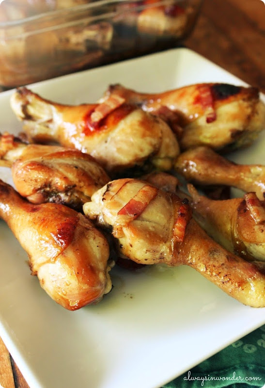 maple bacon teriyaki drumsticks from alwaysinwonder