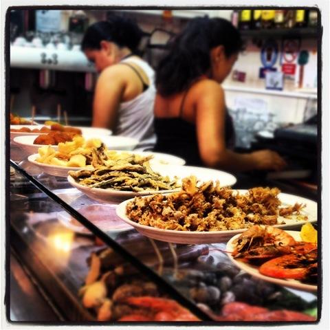seafood tapas at la Boqueria