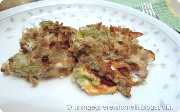 fiori di zucca zucchini pumpkin flowers parma ham prosciutto crudo ricotta cheese grated fratinati