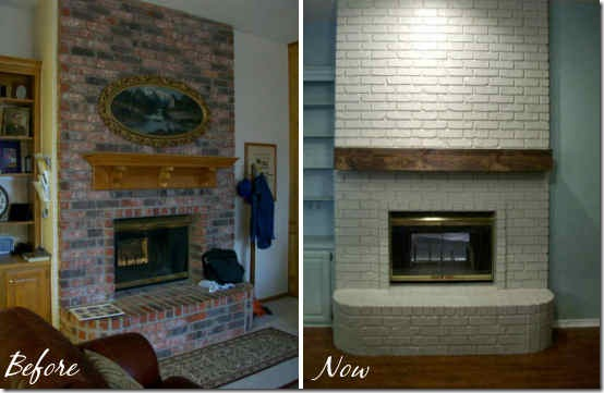 rough hewn wood mantel before and now