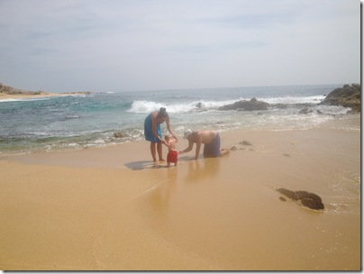 4.  Knox's first time on the beach