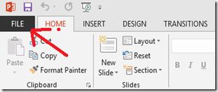 Menu File PowerPoint