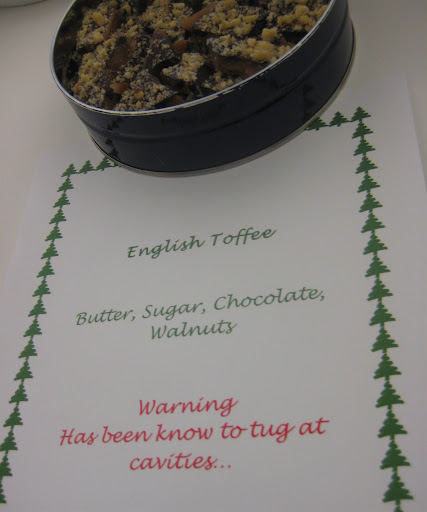 English toffee—with a warning—from the photo department.