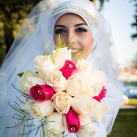 Bride by Luli Busedra - Wedding Bride ( red rose, flowers, bride )