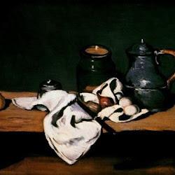 Paul Cezanne (1869): Naturaleza muerta con tarro, cafetera y fruta. Museo de Orsay. París. Francia.