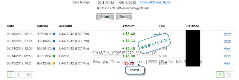 Bukti Pembayaran fx7pro.com (Pembayaran Keenam $15,13 USD)