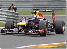 Vettel nelle prove libere del gran premio del Belgio 2013