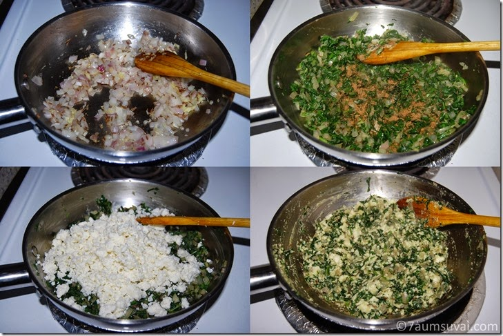 Spinach paneer stuffing process
