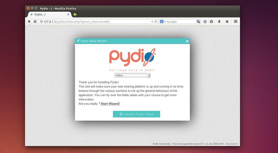 Pydio - wizard configurazione