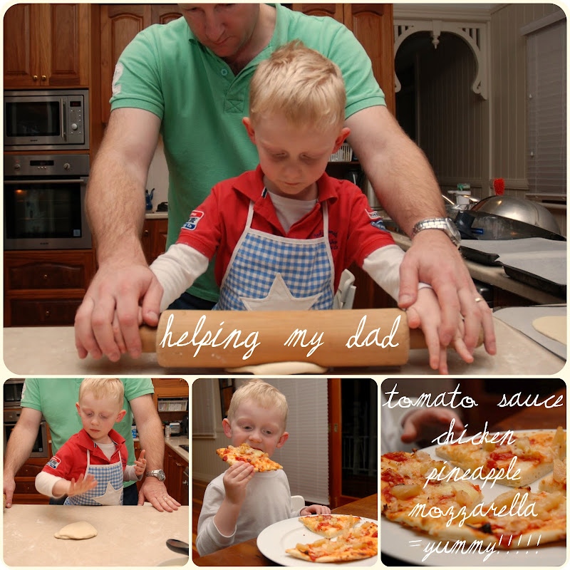 Picnik collage pizza making with Dad