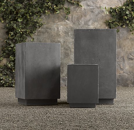 These planters may look like they weigh a ton, but they're actually light-weight making them perfect for sun-decks or patios. (restorationhardware.com)