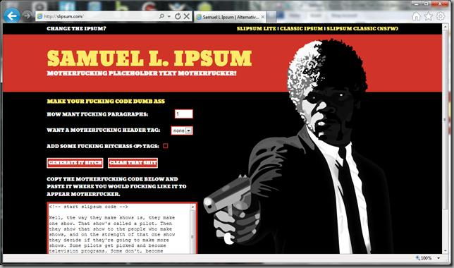 Samuel L. Ipsum site screenshot