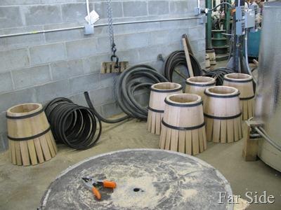 Barrels before the hot water bath