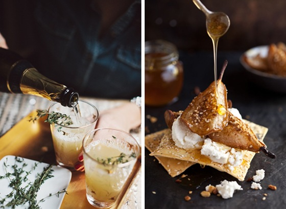 Pear Nectar & Thyme Mimosa & Dukkah Baked Pears with Goats Cheese and Honey
