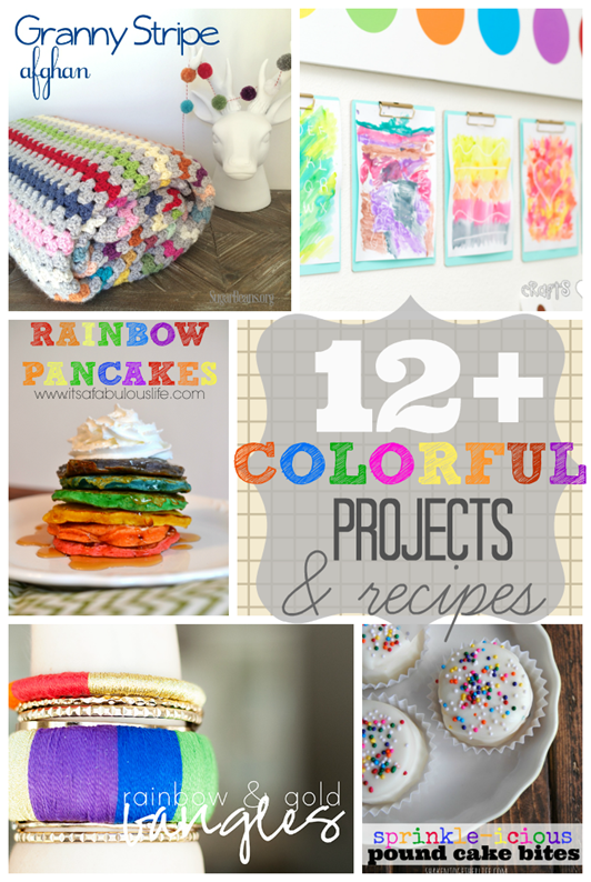Over 12 Colorful Projects & Recipes at GingerSnapCrafts.com #linkparty #features #colorful #rainbow #color