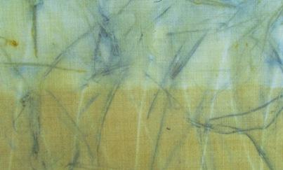 ECO PRINT Blutpflaumenrinde auf Wolle Detail 1