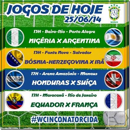 WCINCO - JOGOS DE HOJE 25.06