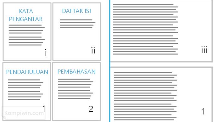 page number microsoft word yang berbeda