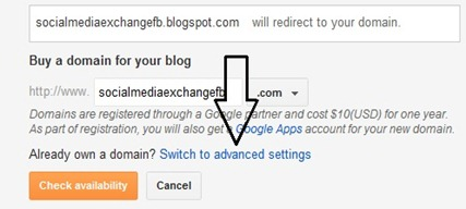 Add domain in blogger