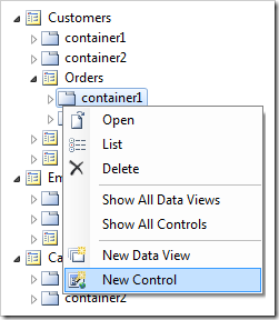 'New Control' option on container1 of Orders page in Code On Time Designer
