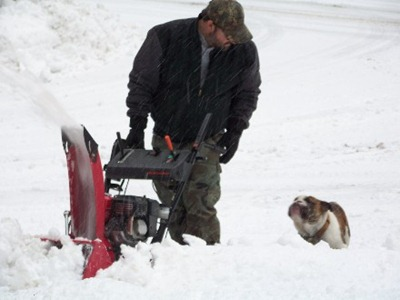 Cujo and Dad - Snowblowing Driveway2