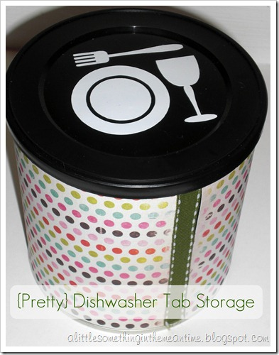 pretty dishwasher tab storage