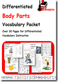 Differentiated Vocabulary Packet to Teach Body Parts to Your English Language Learners