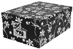 set of 4 black and white floral storage boxes