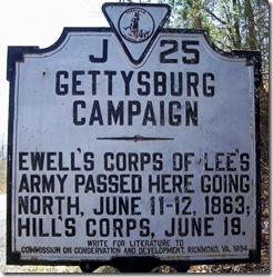 Gettysburg Campaign, Marker J-25 Rappahannock County, VA