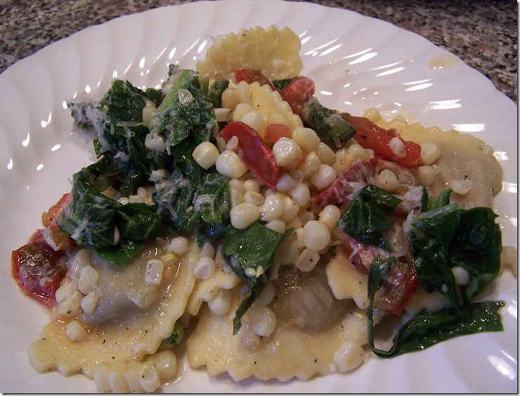 Mushroom Ravioli with Corn, Swiss Chard, and Heirloom Tomatoes 019