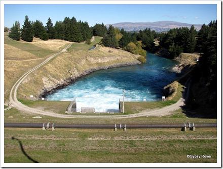 Lake Hawea control dam out flow.